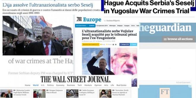 Svjetski mediji: Presuda Šešelju šokirala javnost
